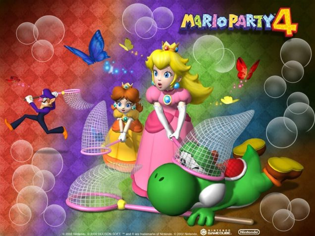 Mario Party 4 wallpaper featuring Peach, Daisy, Waluigi, and Yoshi (sadly not Red Yoshi)