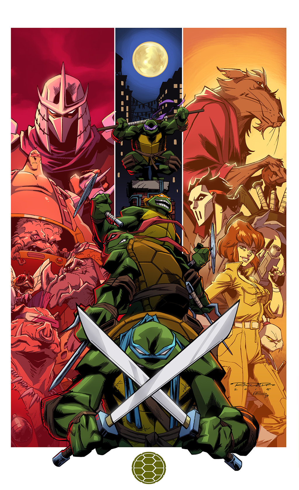 TMNT (2003 versions) and supporting cast (1987 versions). Print by Khary Randolph and Emilio Lopez