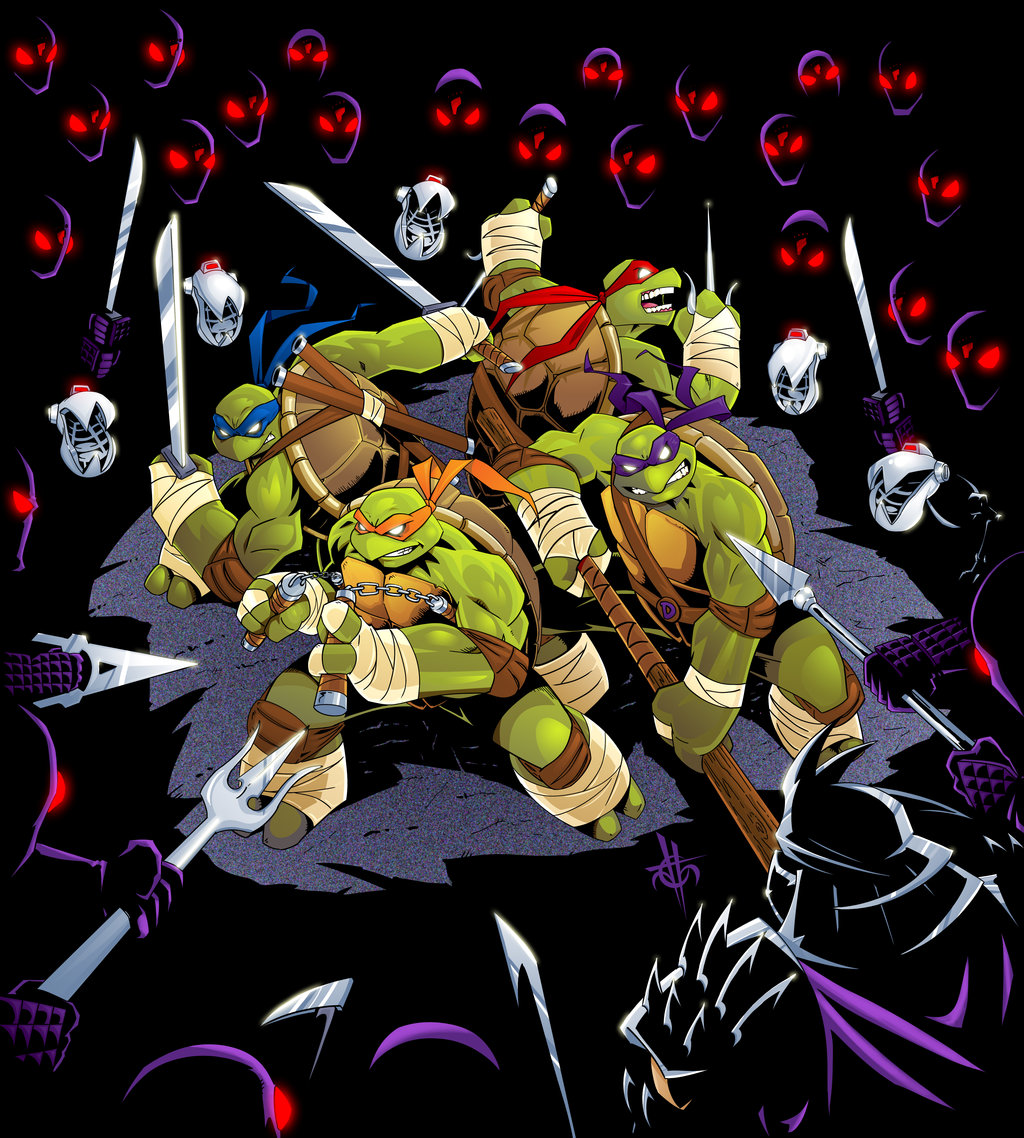 The TMNT surrounded by Foot Clan by blackbat