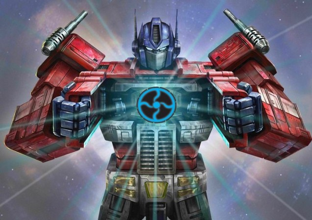 Optimus Prime displaying the Cortex logo matrix of leadership