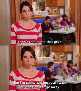 April Ludgate from Parks and Recreation, saying