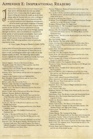 Appendix E from D&D 5e PHB
