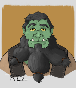 Portrait of a half-Dwarf, half-Orc (dworc)