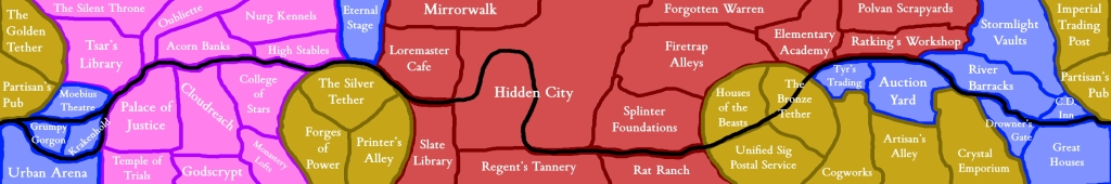 An example new map of Sig that can be twisted into a Mobius strip. Rough draft created by Stephen Morffew, imitating the style from Sig: City of Blades that colour-codes the city's districts.
